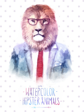 animal head with people body watercolor drawn vector