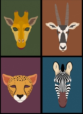 animal heads background giraffe antelope leopard zebra icons