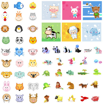 animal icon vector set vector