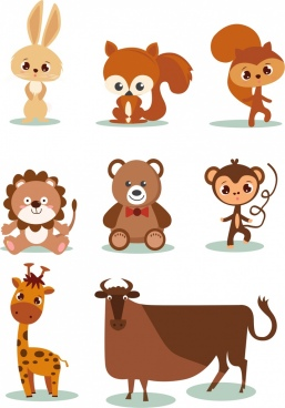animal icons collection brown design cute cartoon sketch