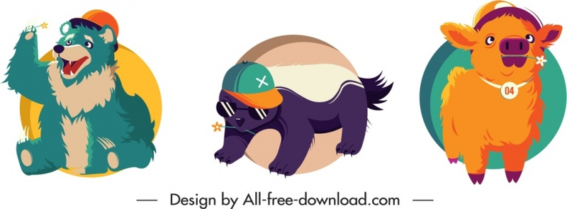 animal icons colored design cute cartoon sketch