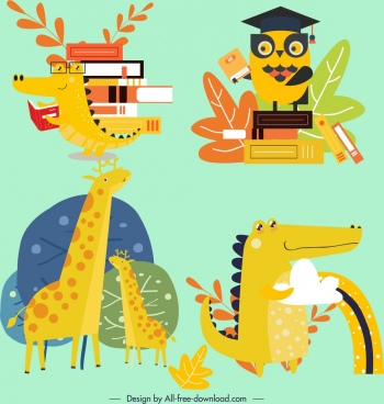 animal icons colored stylized cartoon characters