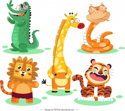 animal icons cute stylized cartoon characters