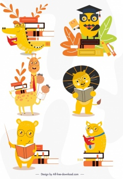 animal icons educational theme cute stylized design