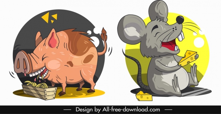 animal icons pig mouse sketch funny cartoon characters