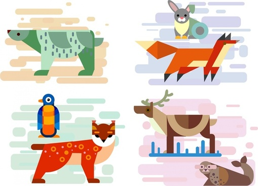 animal icons sets in colored flat geometric design