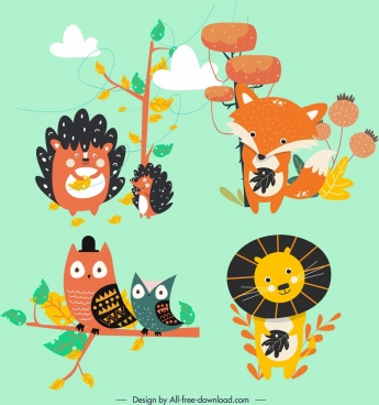 animal icons stylized porcupine fox owl lion characters