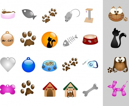 animal icons dog cat pet theme colored design