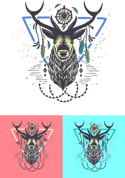 animal logo illustration vintage vector