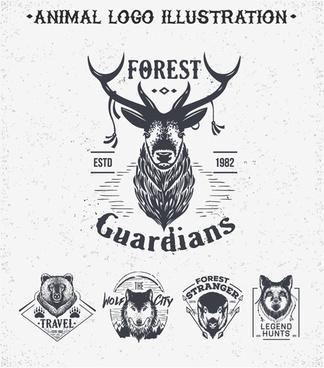 animal logo illustration vintage vector