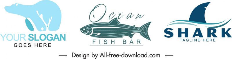 animal logo templates flat handdrawn bear fish shark