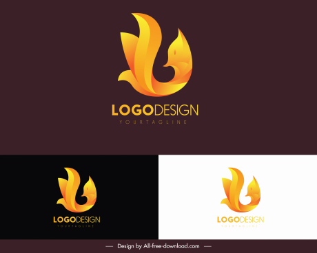 animal logotype fox sketch yellow curved abstract design