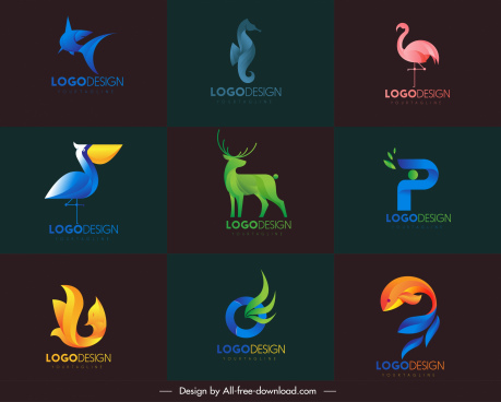 animal logotypes modern colored shapes