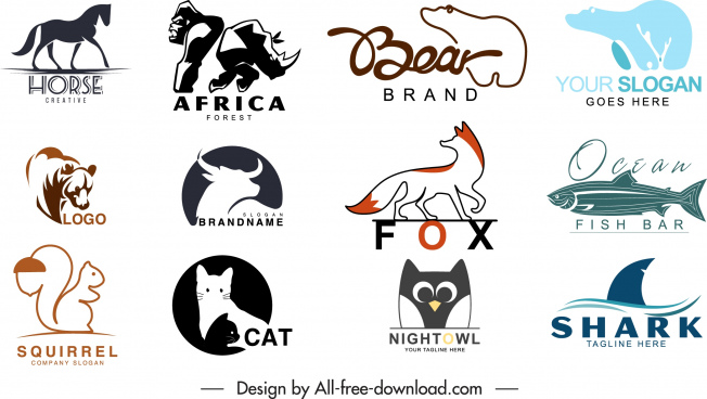 animal logotypes templates flat handdrawn silhouettes sketch