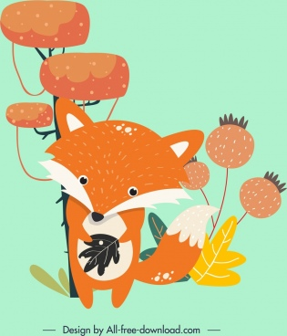 animal painting fox icons cartoon design