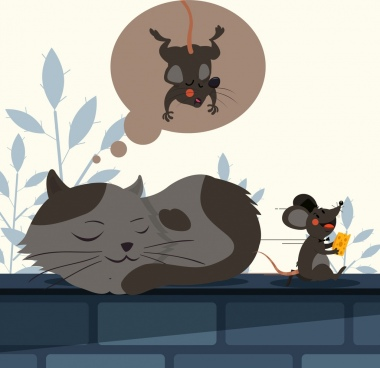 animal painting funny design cat mouse icons