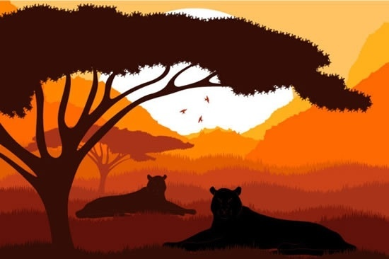 animal silhouette pattern vector