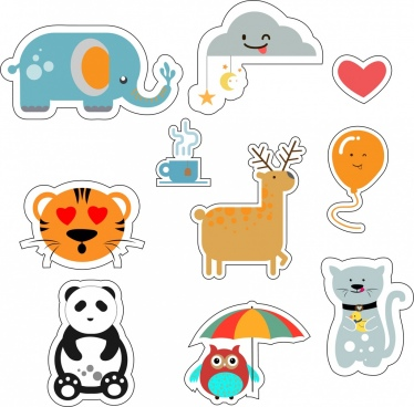 animal stickers collection various colored flat icons isolation