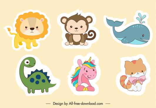 animal stickers cute cartoon sketch flat design