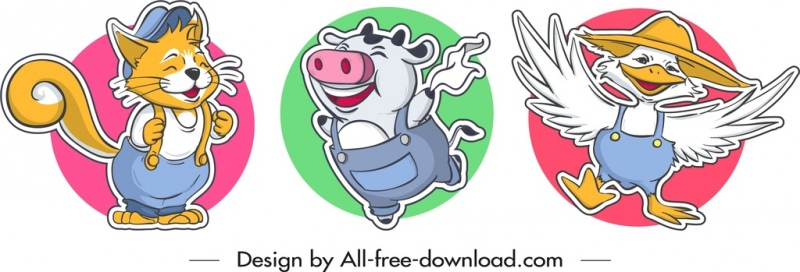 animal stickers templates cat pig duck icons