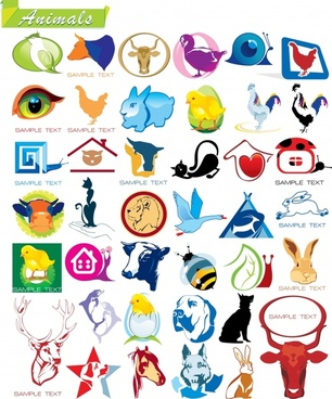 animals logotypes colorful flat 3d silhouette decor