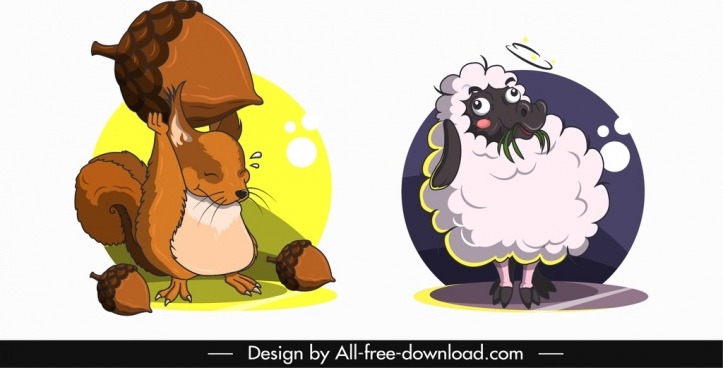 animals avatar templates squirrel sheep icons cartoon design