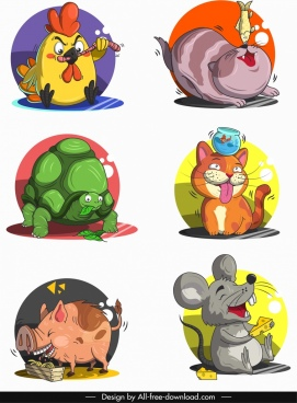 animals avatars funny cartoon characters sketch