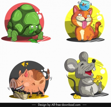 animals avatars turtles cat pig mouse characters sketch