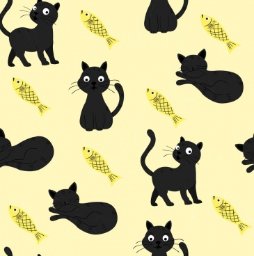 animals background cat fish icons repeating decor