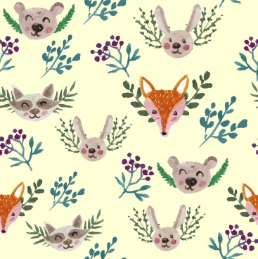 animals background head plants icons repeating design