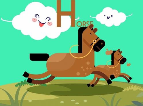 animals background horses stylized clouds icons cartoon design
