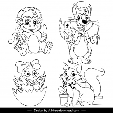 animals icons black white cartoon handdrawn sketch