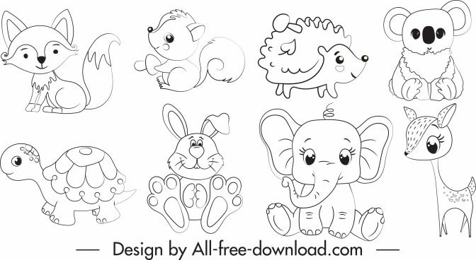 animals icons black white handdrawn cartoon sketch