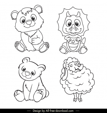 animals icons black white handdrawnsketch