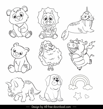 animals icons cartoon character black white handdrawn