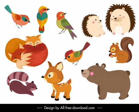 animals icons colored cute cartoon design
