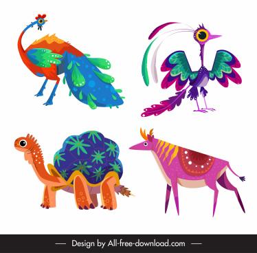 animals icons colorful cartoon peafowl turtle reindeer sketch