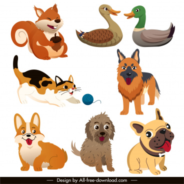 animals icons cute cartoon sketch