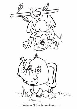 animals icons cute handdrawn monkey elephant sketch