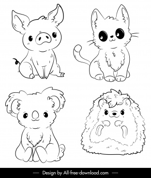 animals icons cute handdrawn sketch black white outline