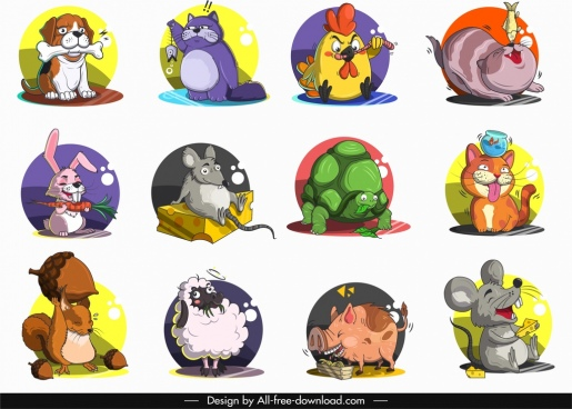 animals icons cute stylized cartoon characters