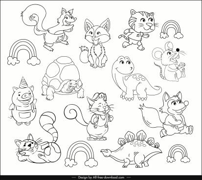 animals icons cute stylized cartoon sketch handdrawn design