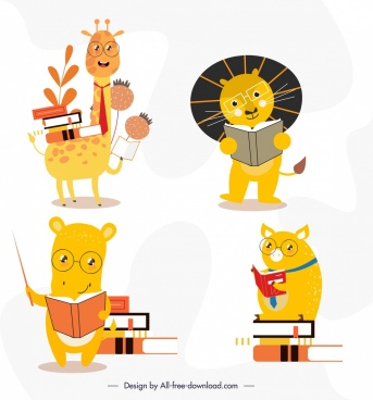 animals icons educational theme cute stylized cartoon characters