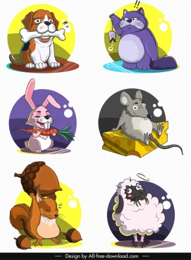 animals icons funny cartoon characters circles isolation