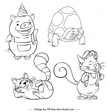 animals icons handdrawn pig fox cat turtle sketch