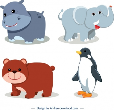 animals icons hippo elephant bear penguin sketch
