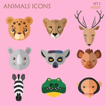 animals icons set with flat design style