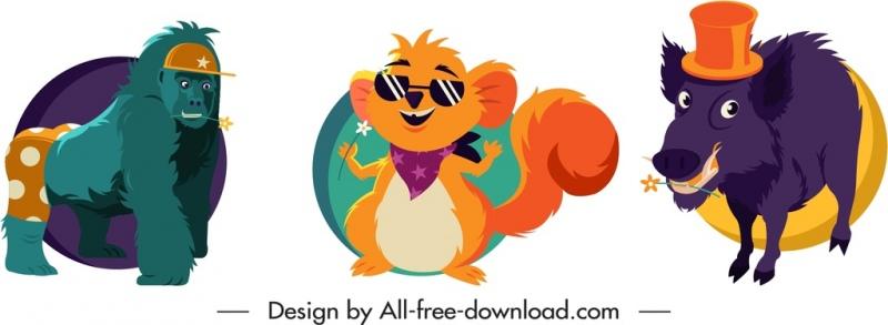 animals icons stylized gorilla squirrel boar sketch