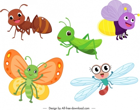 animals insects icons colored stylized cartoon characters