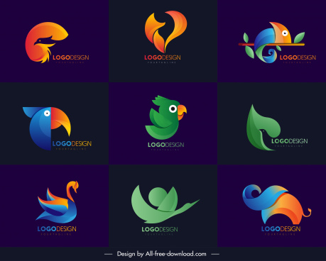 animals logo templates modern colored abstract decor